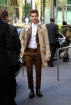 Andrew Garfield in Burberry Trench coat and Marni suits.