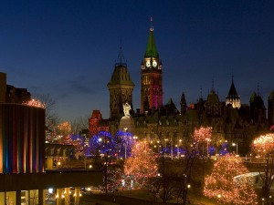 Ottawa at Night. View from the Mackenzie Bridge