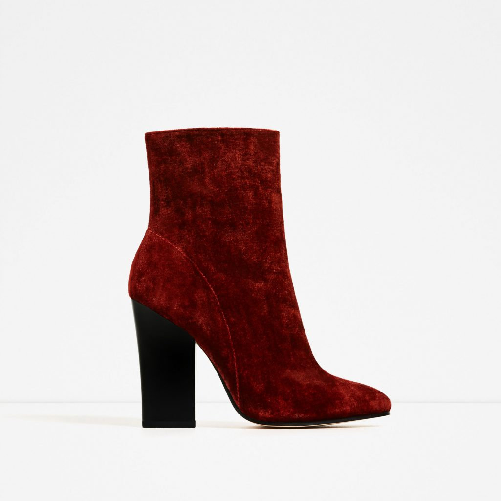 Sale: Zara High Heel Velvet Ankle Boot